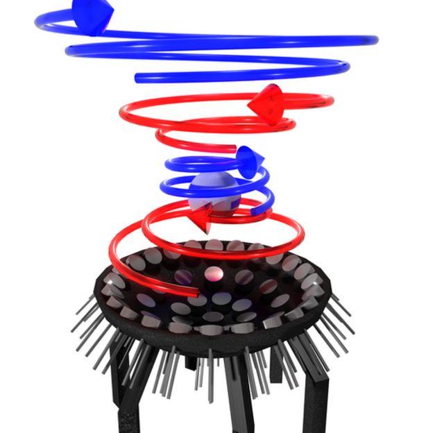 Ilustración del experimento con el rayo tractor sónico