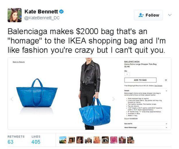 Tweet reads: Balenciaga makes $2000 bag that's an