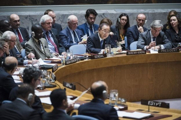 United Nations Secretary General Ban Ki-Moon addresses the Security Council during an emergency meeting on the situation in the Syrian city of Aleppo, on December 13, 2016.
