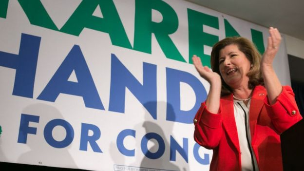 Georgia's Sixth Congressional district Republican candidate Karen Handel gives a victory speech.