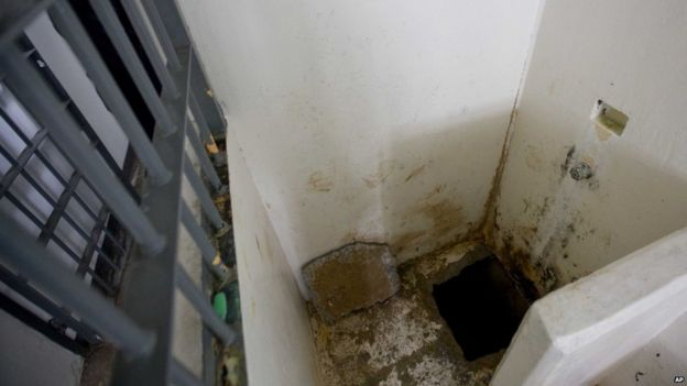 This photo shows the shower area where authorities claim drug lord Joaquin