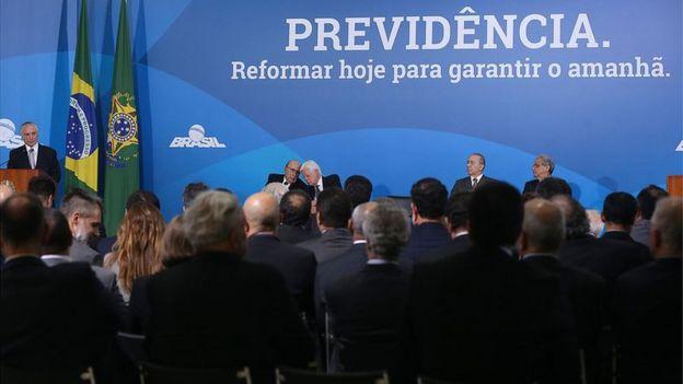 Reunião do governo com empresários sobre a reforma da Previdência