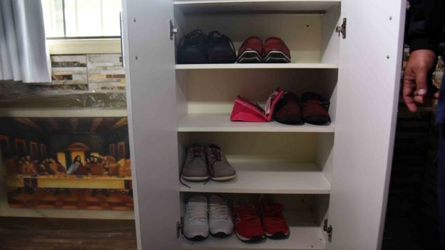 View of shoes at Brazilian drug trafficker Jarvis Chimenes Pavao
