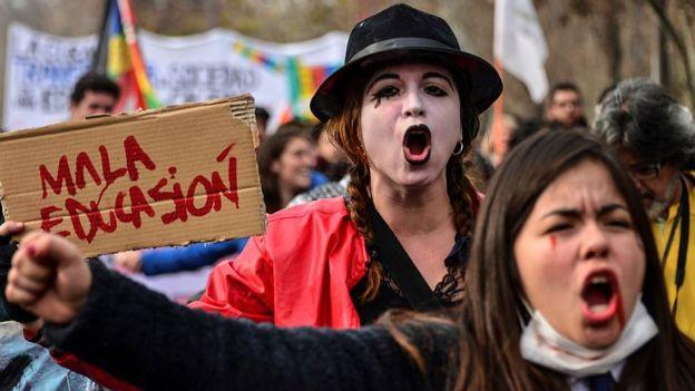 Protesta por la educación en Chile.