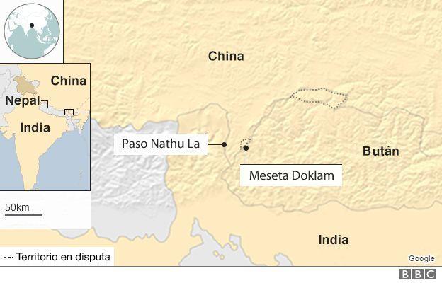 Mapa de la zona en disputa