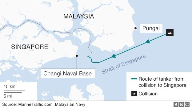 US Navy Ship And Oil Tanker Collide Near Singapore BBC News - Us navy ship map