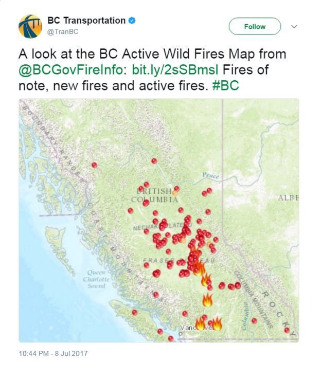 Bc Transportation Tweets A Map Showing Active Wild Fires And Says A Look At The