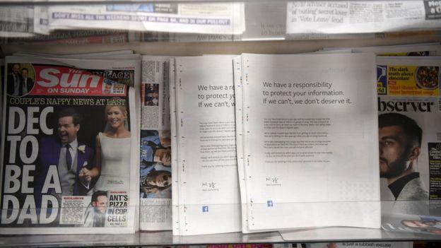Diarios de Reino Unido en un estante