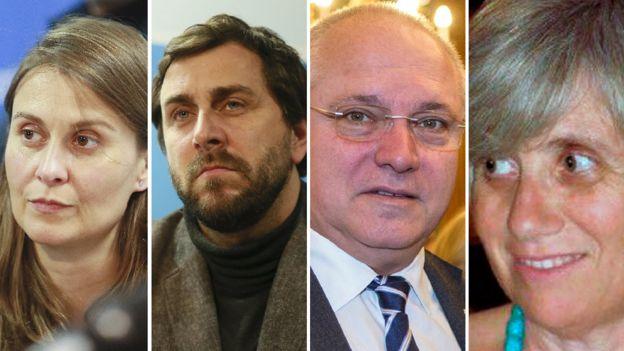 Catalan former officials Meritxell Serret (former agriculture minister), Antoni Comín (former health minister), Lluís Puig (former culture minister), and Clara Ponsatí (former education minister)