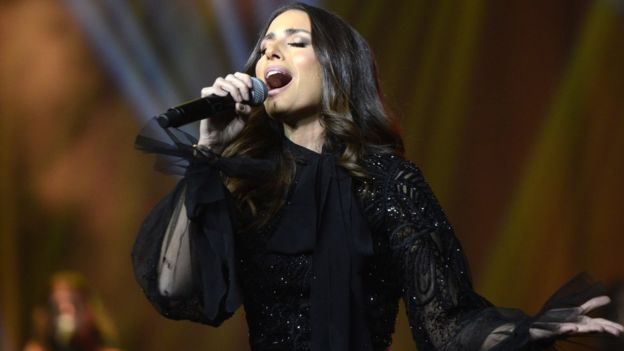 Lebanese singer Hiba Tawaji performs during the first ever female concert in the Saudi capital Riyadh, 6 December 2017