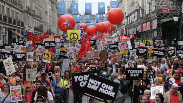 Crowds march in central London