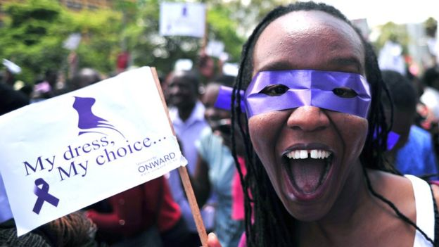 A woman takes part in a rally to protest against violence towards women, on November 17, 2014 in the Kenyan capital, Nairobi.