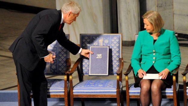 劉曉波得到諾貝爾和平獎的頒獎典禮