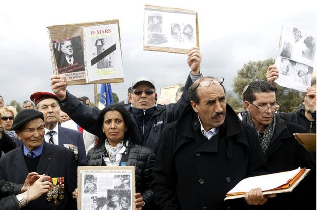 Photo taken during a demonstration by descendents of Harkis, in 2016 at Rivesaltes, against the commemoration of the Algerian war ceasefire on 19 March.