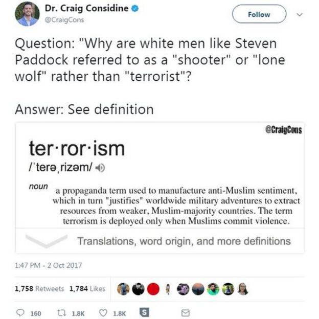 Question: Why are white men like Stephen Paddock referred to as a shooter or lone wolf rather then a terrorist