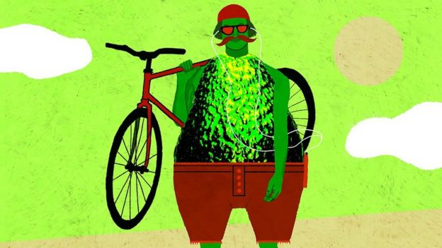 Hipster con cuerpo de aguacate
