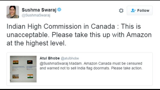 Tweet from Sushma Swaraj  sc 1 st  BBC & Fury over India flag doormats for sale on Amazon - BBC News pezcame.com