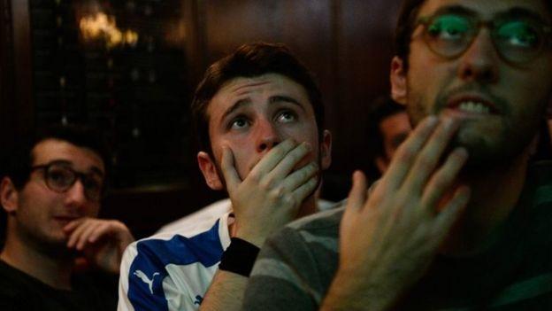 Italian fans watching the match