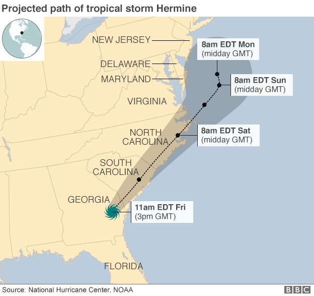 Florida Coast Battered By Hurricane Hermine BBC News - Georgia map hurricane