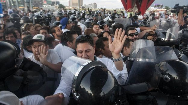 Protestas de maestros.