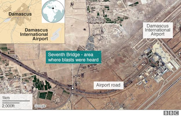 Map showing location of Damascus airport