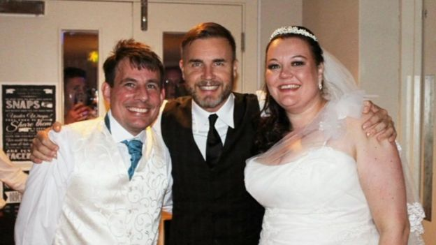Martin and Natalie Purkis with Gary Barlow