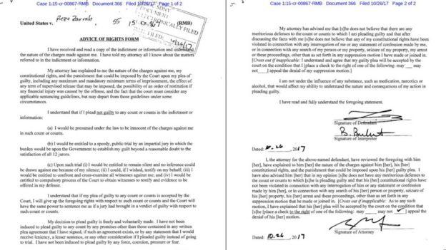 Zarrab'ın suçlarını kabul ettiği belge