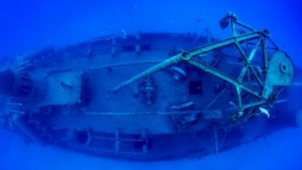 Restos de la embarcación USS Kittiwake. Foto: Jennifer Idol