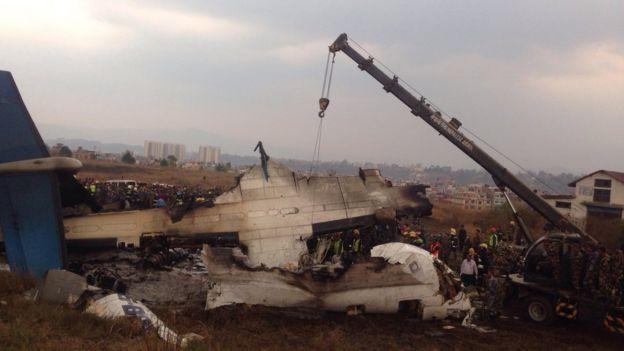 दुर्घटनाग्रस्त विमानको भग्नावशेष