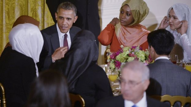 Former US President Barack Obama hosts the annual Iftar dinner celebrating the Muslim holy month of Ramadan in the East Room of the White House July 22, 2015
