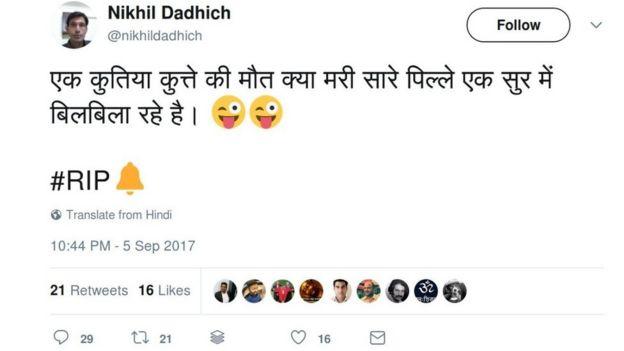 The Hindi tweet translates as: