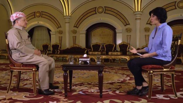 Mesud Barzani ve BBC Farsça Servisi muhabiri Nafiseh Kohnavard