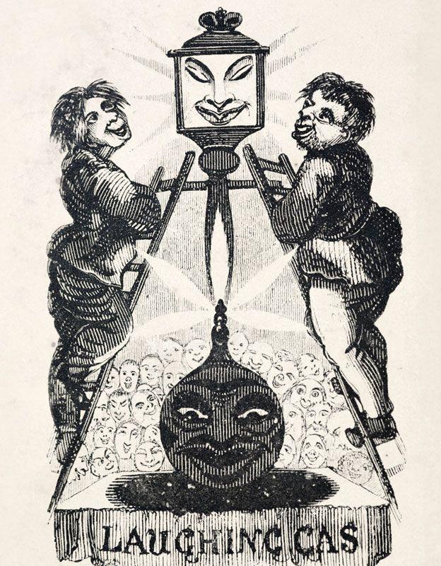 """""""Gas de la risa"""" de """"El aniversario de la diversión literaria"""" (1836) por Thomas Hood."""