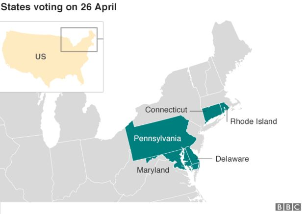 Map States Voting On 26 April Connecticut Delaware Maryland Pennsylvania