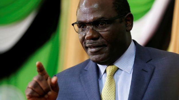 Wafula Chebukati addresses a news conference at the Bomas of Kenya, in Nairobi, Kenya October 18, 2017