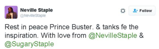 Tweet lee: Descansa en paz Prince Buster. y tanques de fe la inspiración. Con amor de @NevilleStaple y @SugaryStaple