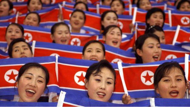 North Korean cheerleaders.