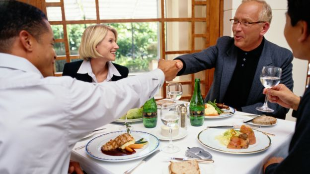 Business people meeting for lunch