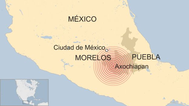 Mapa terremoto en México