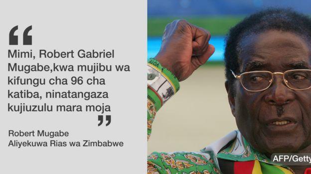 Nukuu ya rais Mugabe alipokuwa akijiuzulu