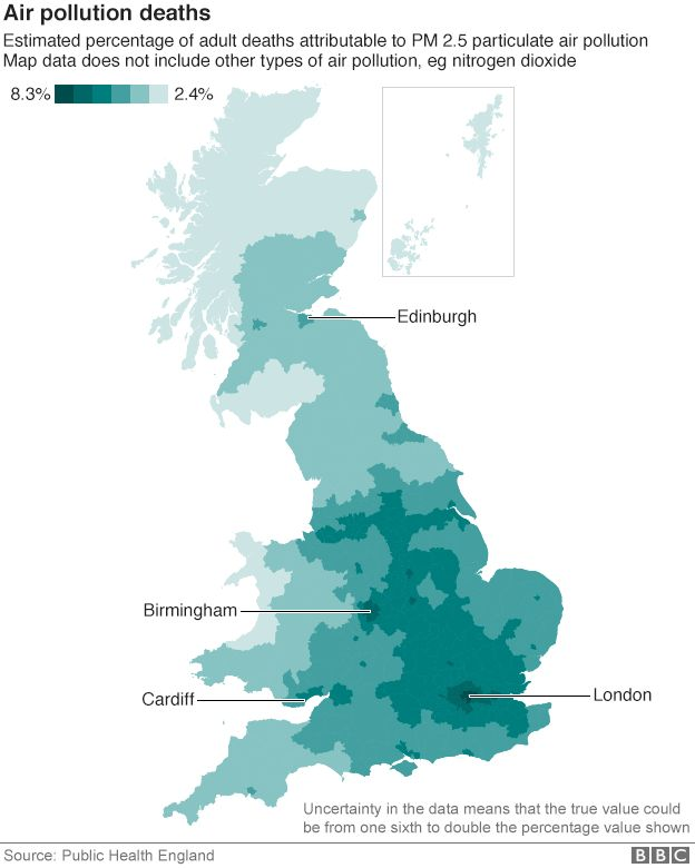 UK Air Pollution Linked To Early Deaths A Year BBC News - Air quailty map us