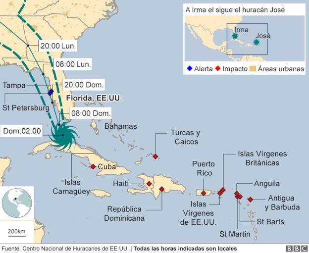 Versión actualizada (1300EST) del mapa de la trayectoria del huracán Irma.