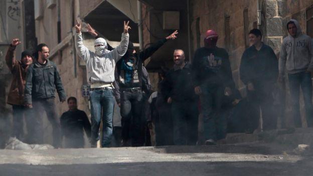 Protestas en la ciudad sureña de Deraa en marzo de 2011