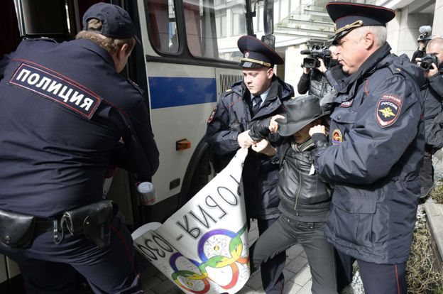 Arrest of gay rights activist in Moscow, Sept 2013