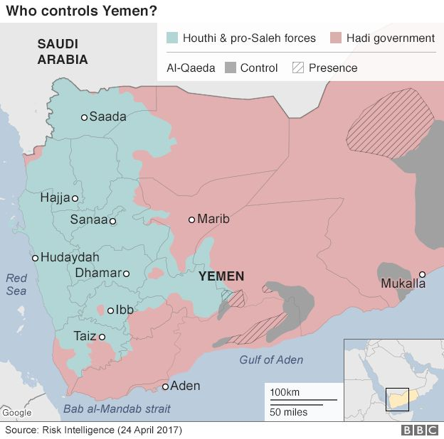 Map showing control of Yemen (24 April 2017)