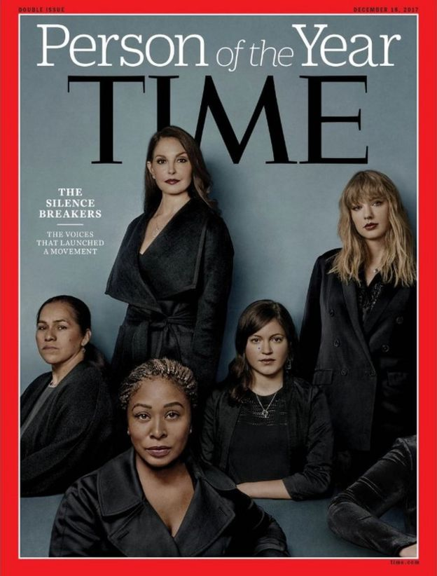 "Time magazine cover honouring ""The Silence Breakers"" as collective Person of the Year. Clockwise from top: Ashley Judd, Taylor Swift, Susan Fowler, Adama Iwu and Isabel Pascual"