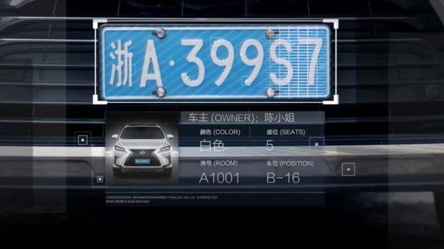 Información de un automóvil recolectada a partir de una imagen de circuito cerrado.