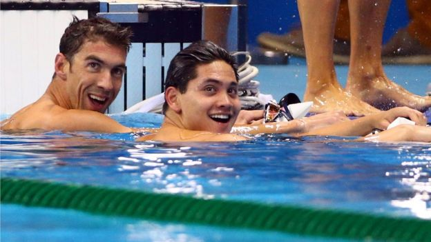 Olympic champion Michael Phelps and Singapore swimmer Joseph Schooling