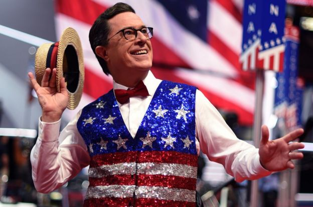 Comedian Stephen Colbert, host of 'The Late Show' tapes a segment for his show at the Quicken Loans Arena on 17 July, 2016,