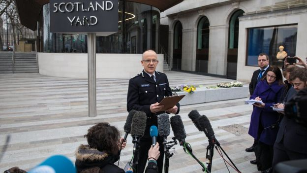 Mark Rowley speaking to journalists outside New Scotland Yard in March last year.